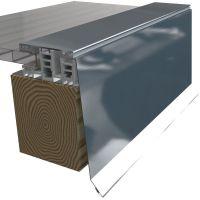 Attika Seitenabschluss für Mendiger Profil 2m Länge 35µm Holzoptik Höhe 150 mm