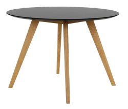 BESS - Designer Esstisch rund, schwarz / eiche, Tischplatte MDF lackiert, matt, Untergestell Eiche massiv