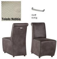 Designer Stuhl - Tara Leder Toledo grau mit Griff eckig von Kasper Wohndesign