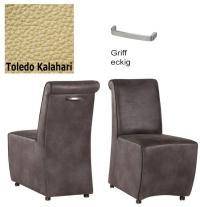 Designer Stuhl - Tara Leder Toledo beige mit Griff eckig von Kasper Wohndesign