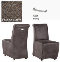 Designer Stuhl - Tara Leder Toledo braun mit Griff eckig von Kasper Wohndesign