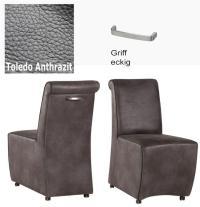 Designer Stuhl - Tara Leder Toledo anthrazit mit Griff eckig von Kasper Wohndesign