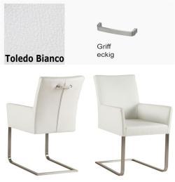 Freischinger - Agio  Leder Toledo weiß mit Griff eckig von Kasper Wohndesign