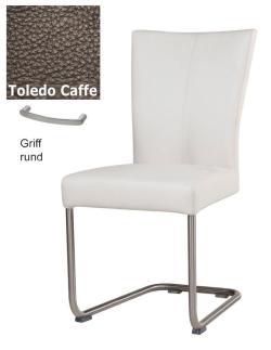 Freischwinger - Polly Leder Toledo braun mit Griff rund von Kasper Wohndesign
