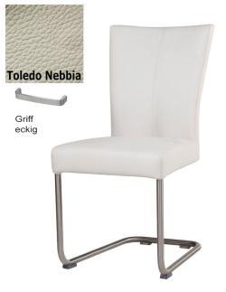 Freischwinger - Polly Leder Toledo grau mit Griff eckig von Kasper Wohndesign