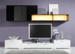 Wohnwand modern Fancy in Hochglanz schwarz - weiß ohne Beleuchtung