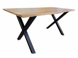 Esstisch 180x90cm massiv mit Baumkante Kreuzfuß schwarz
