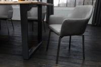 6er Set Stuhl Loui Sessel Kunstleder Esszimmerstuhl hellgrau