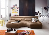 XXL Sofa TARA Big Sofa Wohnlandschaft Stoff beige mit Kissen 292x75x148cm (B/H/T)