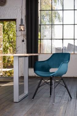 KAWOLA Essgruppe 9-Teilig mit Esstisch Baumkante Fuß silber 180x90cm und 8x Stuhl ZAJA Velvet petrol