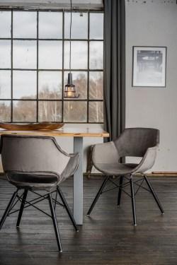 KAWOLA Essgruppe 5-Teilig mit Esstisch Baumkante Fuß silber 160x85cm und 4x Stuhl ZAJA Velvet grau