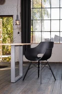 KAWOLA Essgruppe 5-Teilig mit Esstisch Baumkante Fuß silber 160x85cm und 4x Stuhl ZAJA Kunststoff schwarz