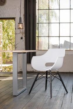 KAWOLA Essgruppe 5-Teilig mit Esstisch Baumkante nussbaumfarben Fuß silber 140x85cm und 4x Stuhl ZAJA Kunststoff weiß