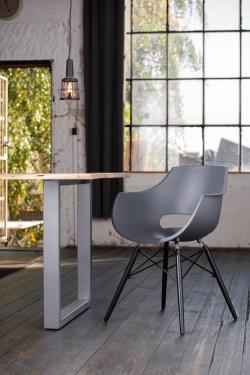 KAWOLA Essgruppe 5-Teilig mit Esstisch Baumkante Fuß silber 160x85cm und 4x Stuhl ZAJA Kunststoff anthrazit