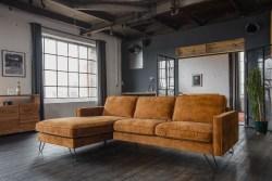 KAWOLA Ecksofa ELINA Sofa Recamiere links Velvet cognac (B/T):242x176cm