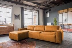 KAWOLA Ecksofa EXTRA Sofa Leder cognac Recamiere links groß mit motorischer Sitztiefenverstellung