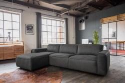 KAWOLA Ecksofa EXTRA Sofa Leder grau Recamiere links groß mit motorischer Sitztiefenverstellung