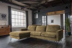KAWOLA Ecksofa ELINA Sofa Recamiere links Velvet moosgrün (B/T):282x176cm