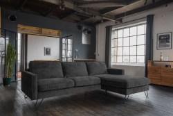 KAWOLA Ecksofa ELINA Sofa Recamiere rechts Velvet anthrazit (B/T):242x176cm