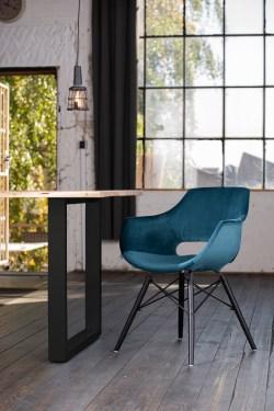 KAWOLA Essgruppe 5-Teilig mit Esstisch Baumkante Fuß schwarz 160x85cm und 4x Stuhl ZAJA Velvet petrol