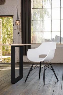 KAWOLA Essgruppe 9-Teilig mit Esstisch Baumkante Fuß schwarz 200x100cm und 8x Stuhl ZAJA Kunststoff weiß
