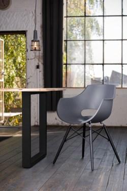 KAWOLA Essgruppe 5-Teilig mit Esstisch Baumkante Fuß schwarz 160x85cm und 4x Stuhl ZAJA Kunststoff anthrazit