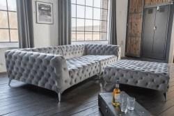 KAWOLA Set Big Sofa und Polsterhocker NARLA Velvet silber