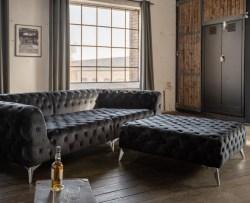 KAWOLA Set Big Sofa und Polsterhocker NARLA Velvet schwarz