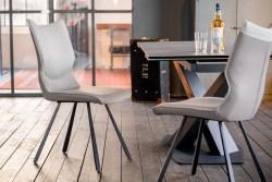 KAWOLA Essgruppe 5-Teilig Tisch PENNY dunkelgrau mit 4x Stuhl DINA Kunstleder/Stoff grau