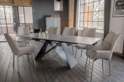 KAWOLA Essgruppe 9-Teilig Tisch BENNO dunkelgrau mit 8x Stuhl STINE Kunstleder/Stoff grau
