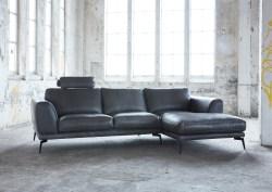 KAWOLA Ecksofa DESIDE Sofa Recamiere rechts Leder schwarz