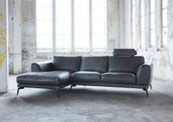 KAWOLA Ecksofa DESIDE Sofa Recamiere links Leder schwarz
