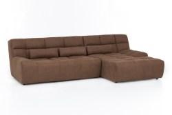 KAWOLA Ecksofa SETO Big Sofa Recamiere rechts Microfaser brandy