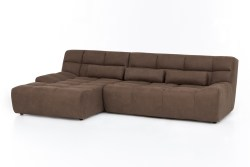 KAWOLA Ecksofa SETO Big Sofa Recamiere links Microfaser braun