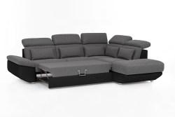 KAWOLA Ecksofa MOMO Sofa mit Schlaffunktion Recamiere rechts Bezug schwarz/grau