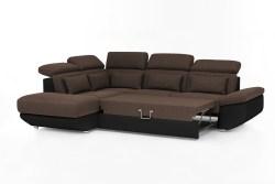 KAWOLA Ecksofa MOMO Sofa mit Schlaffunktion Recamiere links Bezug schwarz/braun