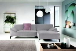 KAWOLA Ecksofa TUNIA Sofa Recamiere rechts Stoff Velvet hellgrau