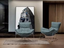 KAWOLA Sessel FINA Polstersessel Metallgestell Microfaser blau