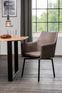 KAWOLA Essgruppe 7-teilig mit Esstisch Baumkante nussbaumfarben Fuß schwarz 160x85 und 6x Stuhl Cali Stoff grau
