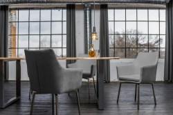 KAWOLA Essgruppe 7-teilig mit Esstisch Baumkante nussbaumfarben Fuß silber 160x85 und 6x Stuhl Cali Stoff grau