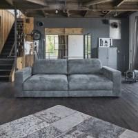 Sofa Ledersofa GIGANT 3,5 Sitzer Leder Toro antrazit Optik dunkelbraun