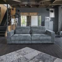 Sofa Ledersofa GIGANT 3,5 Sitzer inkl. Hocker und 2 Kissen Leder Toro anthrazit
