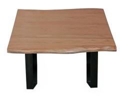 Couchtisch mit Baumkante Akazie-Holz massiv Fuß schwarz 80x42,50x80cm ( B/H/T )