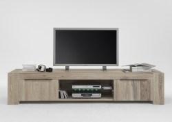 KAWOLA TV-Board MEMORIA mit Glasboden Massivholz Eiche white wash Ohne Beleuchtung (B/H/T) 228x47x50cm