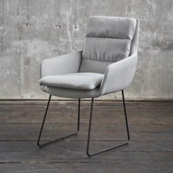 KAWOLA Stuhl VINCE Esszimmersessel Stoff hellgrau Kufenfuß schwarz