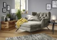KAWOLA Longchair CHARME Stoff Velvet silver