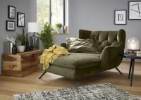 KAWOLA Longchair CHARME Stoff Velvet oliv