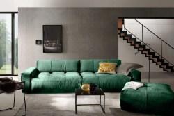 KAWOLA Sofa PALACE Stoff velvet smaragd