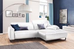 KAWOLA Sofa YORK Leder Life-line white Recamiere rechts Fuß Metall schwarz