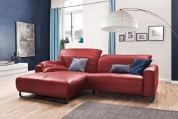 KAWOLA Sofa YORK Leder Life-line rot Recamiere rechts Fuß Metall schwarz